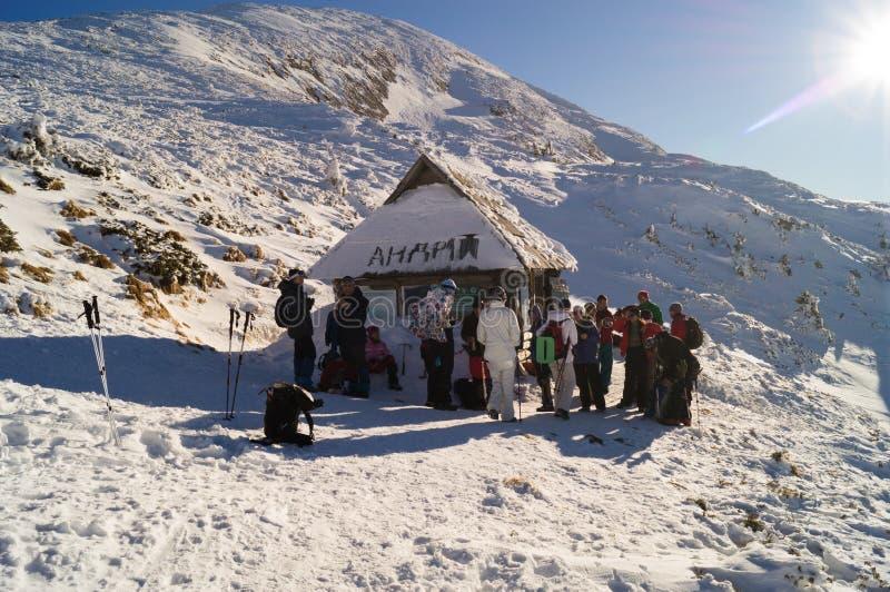 Tatratea Cabana da montanha Parque narodny de Tatransky Vysoke tatry imagem de stock