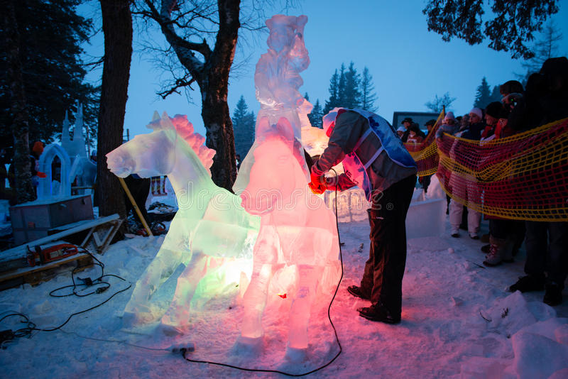 TATRY在Hrebienok,斯洛伐克的冰重要资料2013年 库存照片