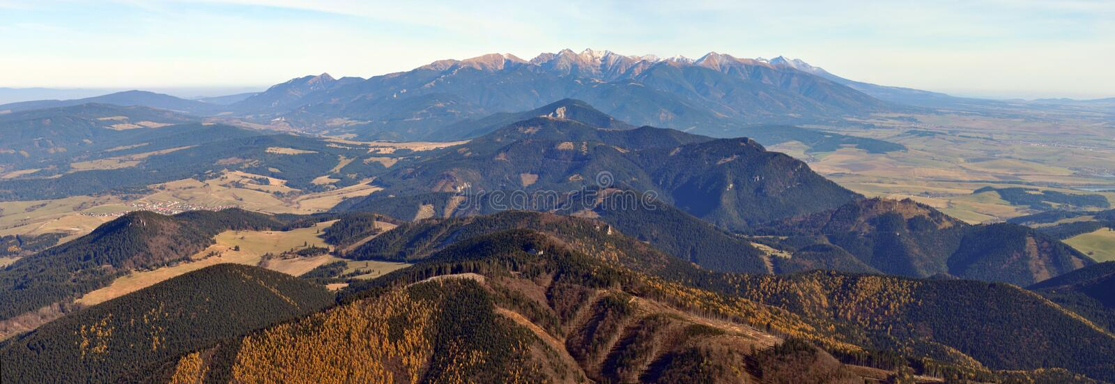 Tatry mountains. Panoramic view from Velky Choc royalty free stock image