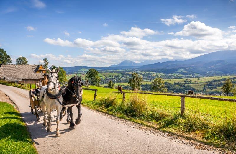 Tatry Mountains and Zakopane city surroundings. ZAKOPANE, POLAND, SEPTEMBER 16, 2018: Summer panorama of Tatry Mountains and Mount Rysy, surroundings of Zakopane stock photo