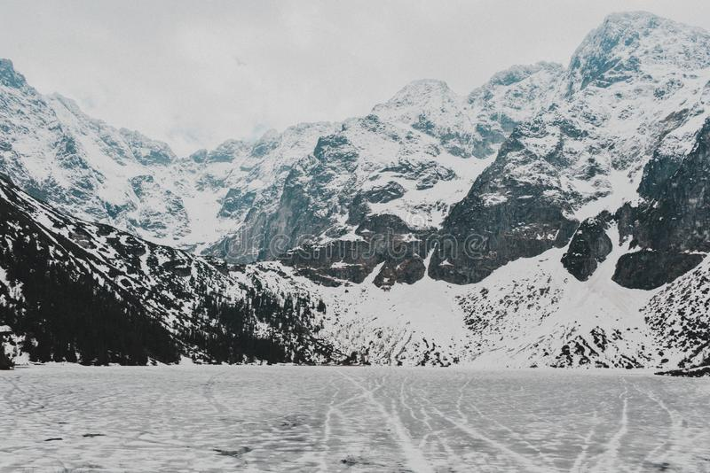 Tatry Mountains Zakopane Landscape. Pictures with snow took in tatry mountains. Beautiful landscape made in Morskie Oko royalty free stock photos