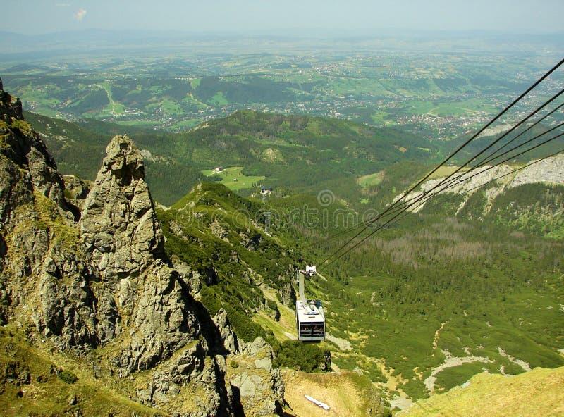 Tatrzańskie góry w Polska, blisko miasta Zakopane, funicular fotografia stock