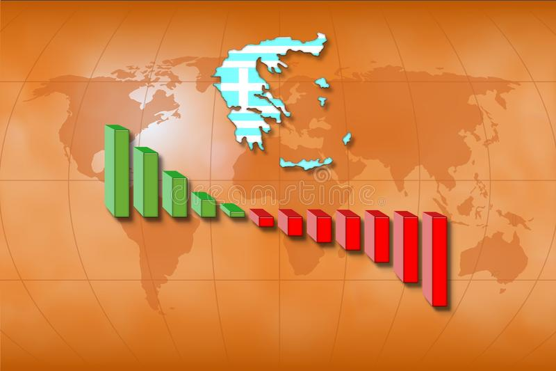 Tatsächliche griechische Wirtschaftlichkeit lizenzfreie abbildung