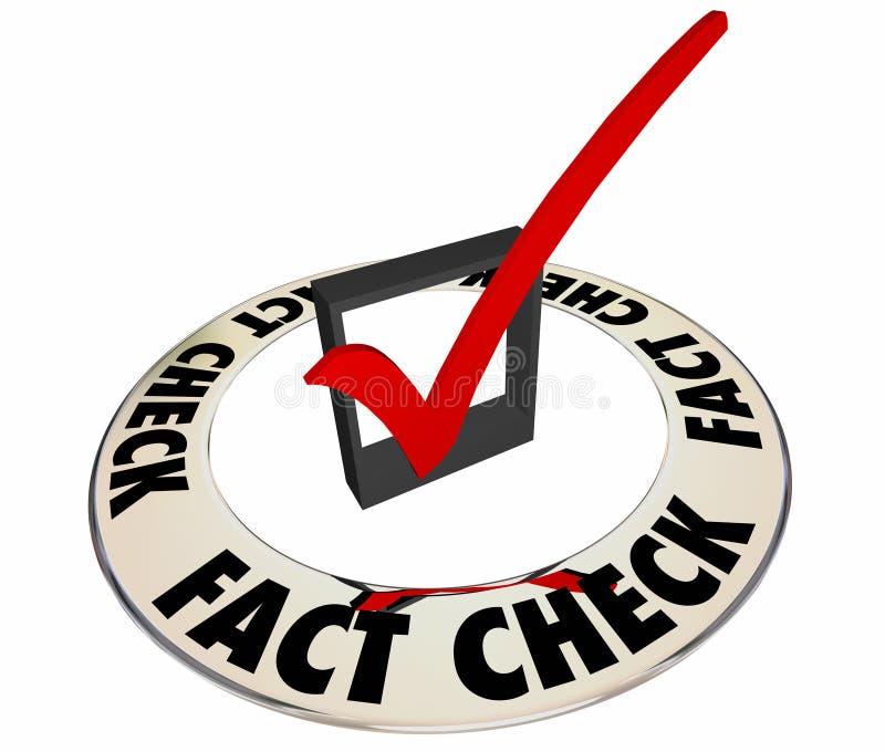 Tatsachen-Kontrolle überprüfen Kasten-Kennzeichen der exakten Information stock abbildung