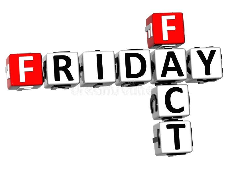Tatsachen-Kreuzworträtsel 3D Freitag lizenzfreie abbildung