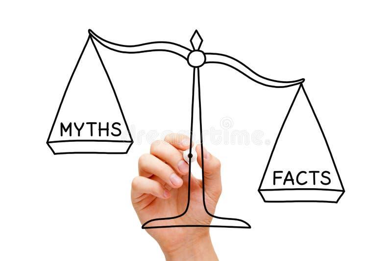 Tatsachen-Mythos-Skala-Konzept stockbild