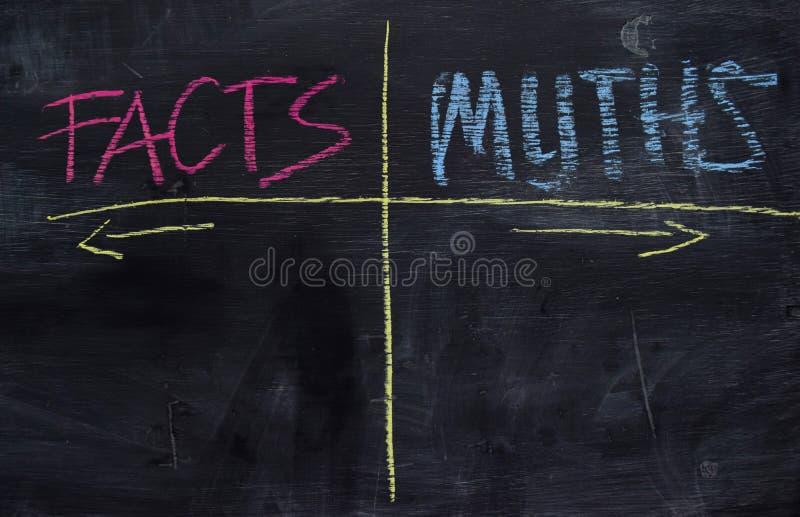 Tatsachen oder Mythen geschrieben mit Farbkreidekonzept auf die Tafel lizenzfreies stockbild