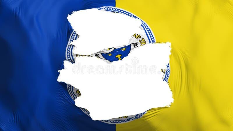 Tattered Trenton capital city flag. Tattered Trenton city, capital of New Jersey state flag, white background, 3d rendering vector illustration