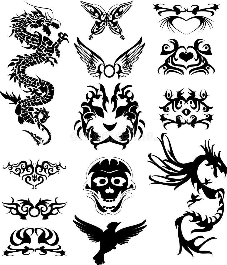 Tatto tribal com dragões ilustração stock