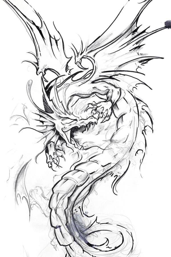 tattoo эскиза дракона искусства иллюстрация штока