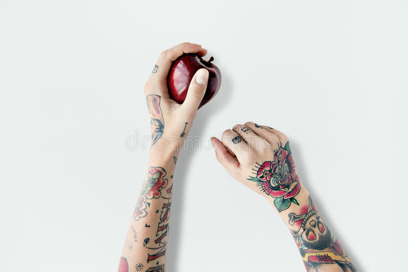 Tattoo Apple Fruit Red Fresh Sweet Juicy Concept royalty free stock photos