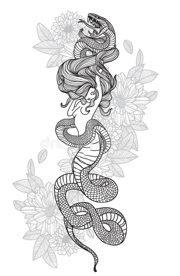 Tattoo art hand drawing woman and snake black and white. With line art illustration isolated on white background royalty free illustration