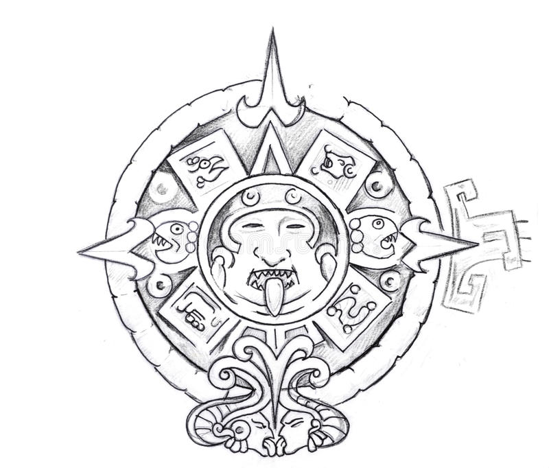 Tattoo art, sketch of a aztec sun royalty free illustration
