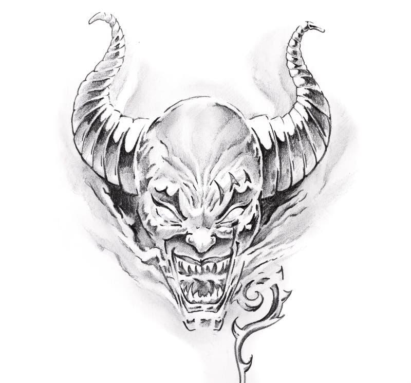 Devil Face Line Drawing : Tattoo art sketch of a devil stock illustration