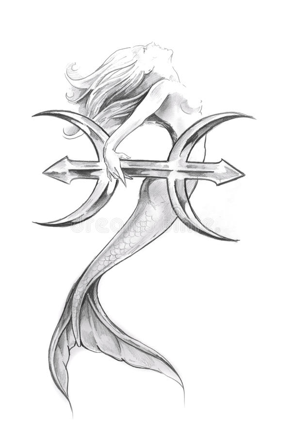 Download Tattoo Art Sketch Of A Mermaid Pisces Stock Illustration