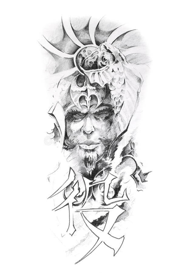 Free Tattoo Art, Sketch Of A Japanese Warrior Royalty Free Stock Photography - 17102977