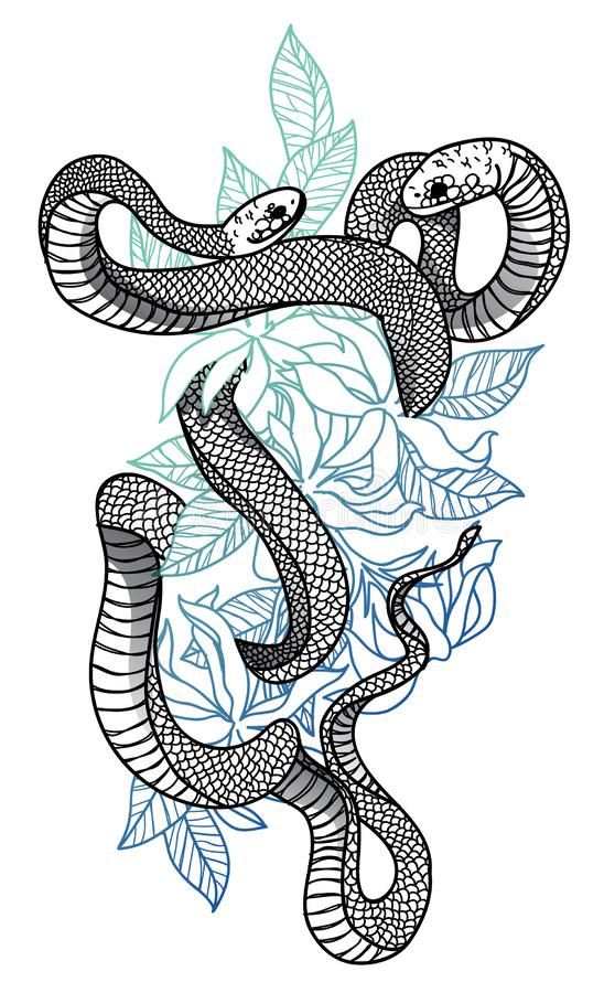 Free Tattoo Art Snake Hand Drawing And Sketch Black And White Royalty Free Stock Photography - 141578067