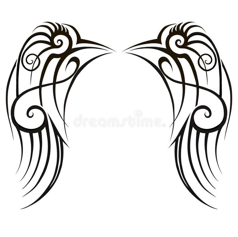 Wings Tattoo art tribal designs. Abstract pattern logo design on white background. Fashion ideas. Tattoo art tribal designs. Abstract pattern logo design on vector illustration