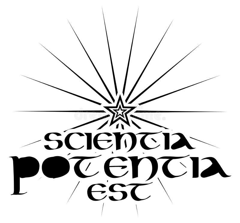 Tattoo avec des mots latin scientia potentia est isolé photo stock
