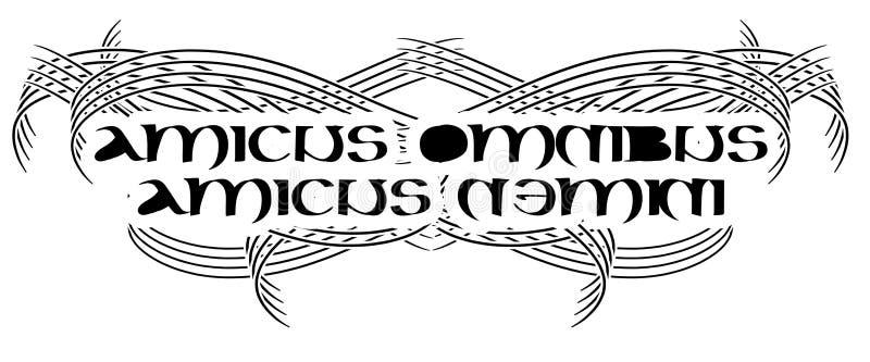 Tattoo avec des mots latins amicus omnibus amicus nemini isolés photos stock