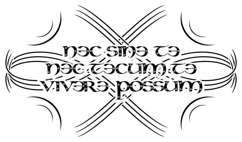 Tattoo avec des mots latins nec sine te nec tecum te vivere possum isolé image stock