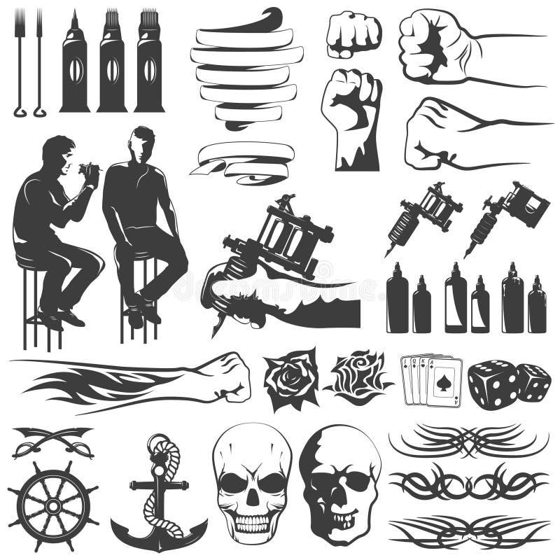 Tattoo Black White Icons Set stock illustration