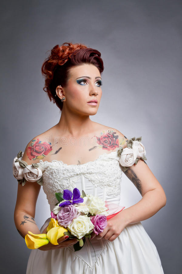 Download Tattoo Bride stock photo. Image of background, looking - 27002578