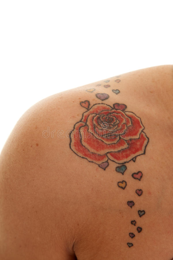 Tattoo close rose on shoulder. A woman has a rose tattoo on her shoulder stock photos