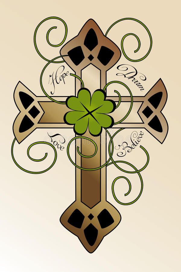 Tattoo design with Irish cross. Tattoo design with hand drawn Irish cross, four-leaf clover and hand written text hope, dream, love, believe - beautiful vector illustration