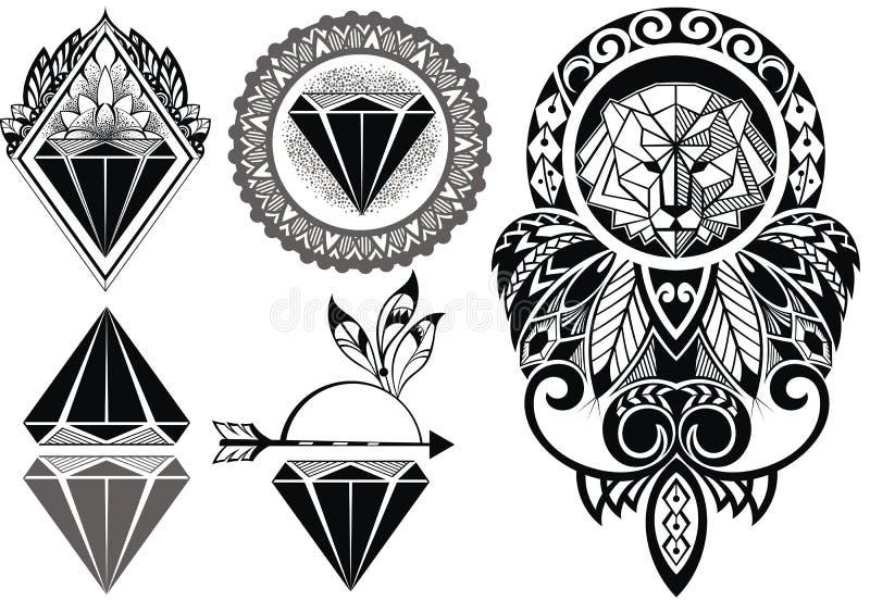 Tattoo design with lion. Tattoo diamonds and tattoo design with lion royalty free illustration