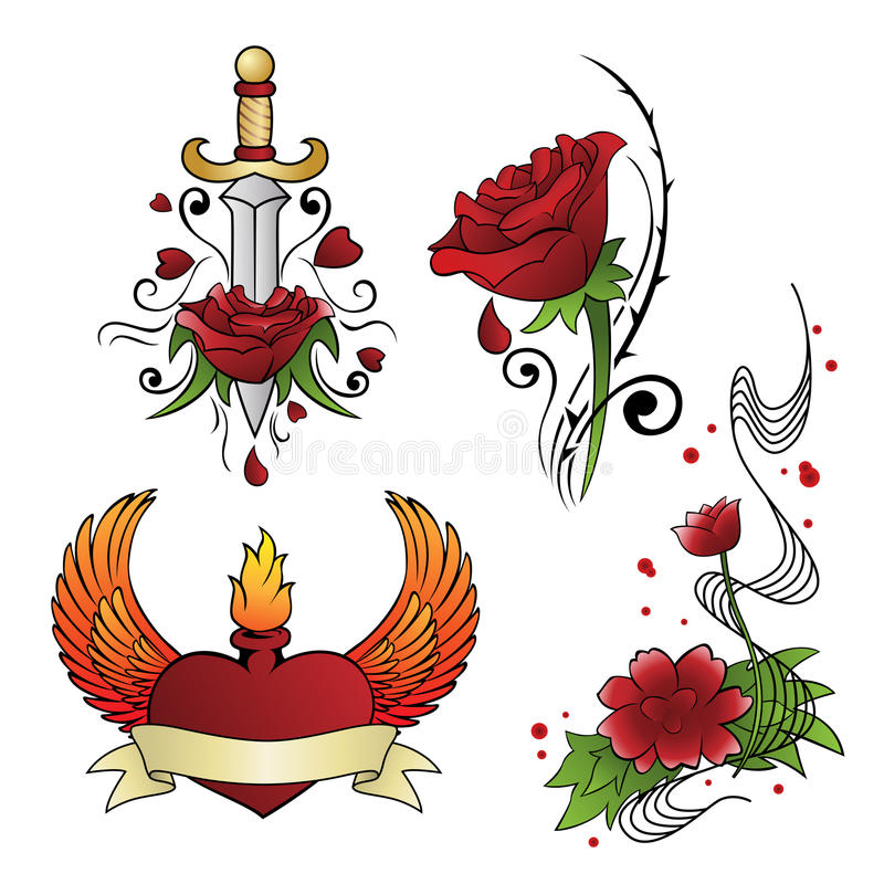 Tattoo designs. A vector illustration of different tattoo designs vector illustration