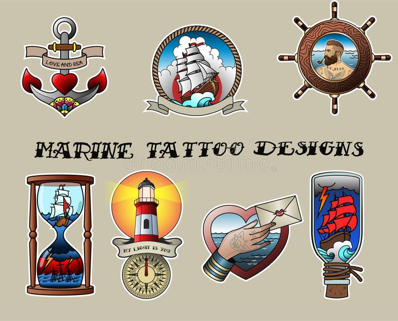 Traditional Tattoo Designs Set Nautical Tattoo Art. Tattoo Designs Anchor, Sailing Ship, Helm, Sailor, Hourglass, Lighthouse, Compass, Love Letter, Ship in the vector illustration