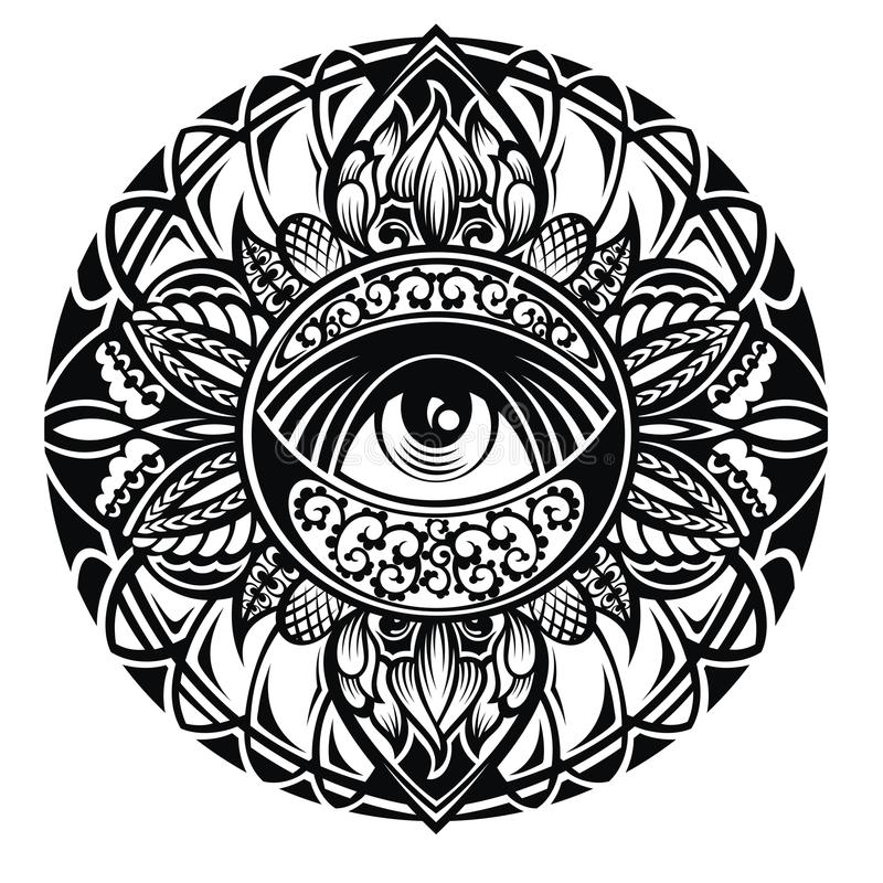 Tattoo eye in round floral frame on white background. Tattoo eye a beautiful woman in a round frame. Rich round frame. Vector graphics. Sacred geometry royalty free illustration