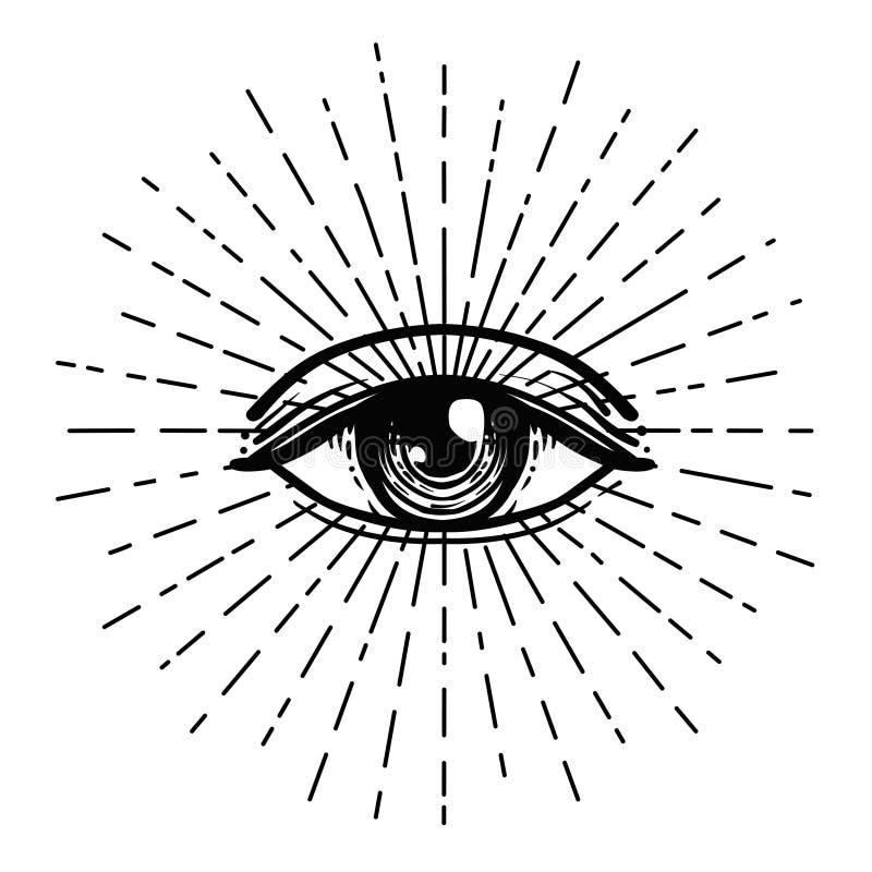 Tattoo flash. Eye of Providence. Masonic symbol. All seeing eye royalty free illustration