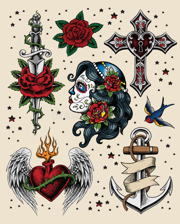 Free Tattoo Flash Illustration Set Royalty Free Stock Photography - 47977547