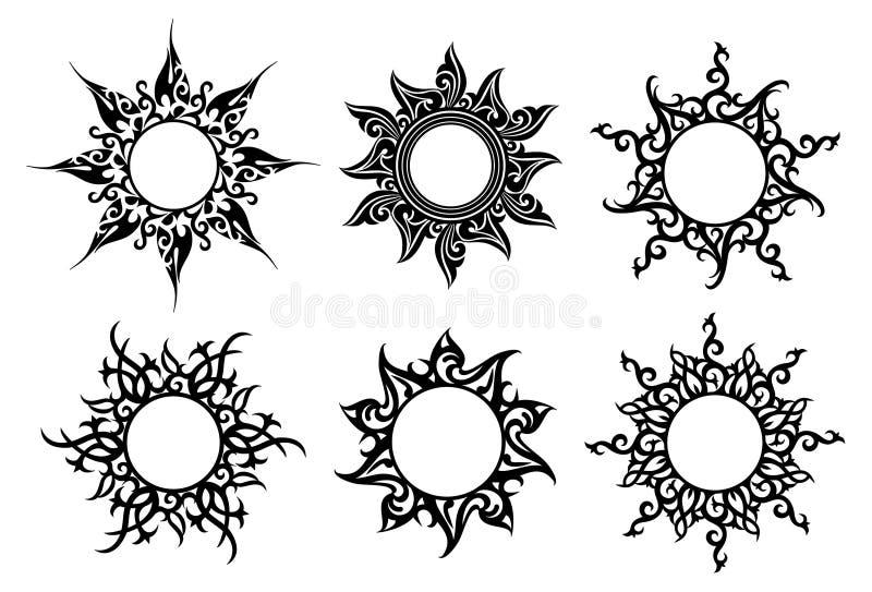 Tattoo, floral ornaments stock illustration