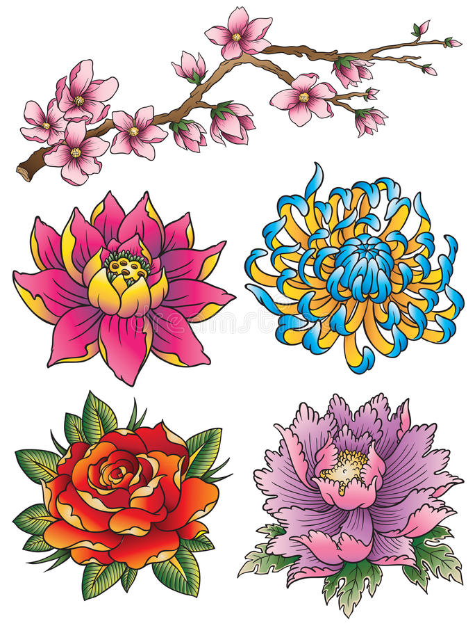 Tattoo Flower Set. A set of various tattoo style flowers