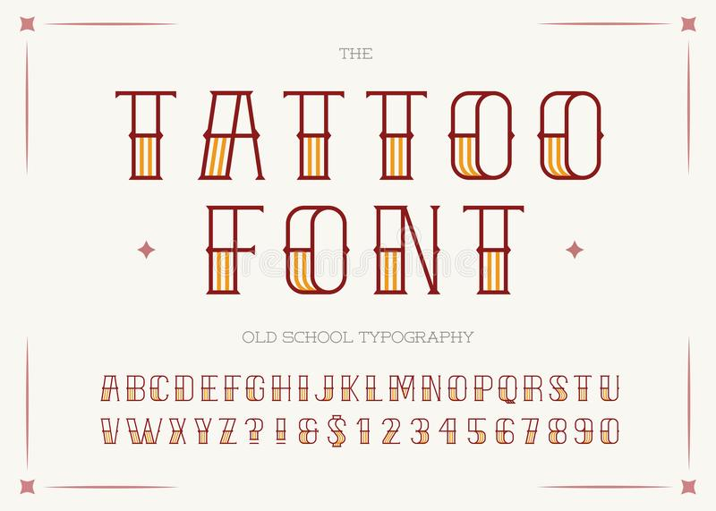 Tattoo font colorful style. vector illustration