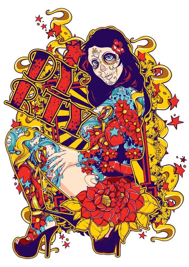 Tattoo freak royalty free illustration