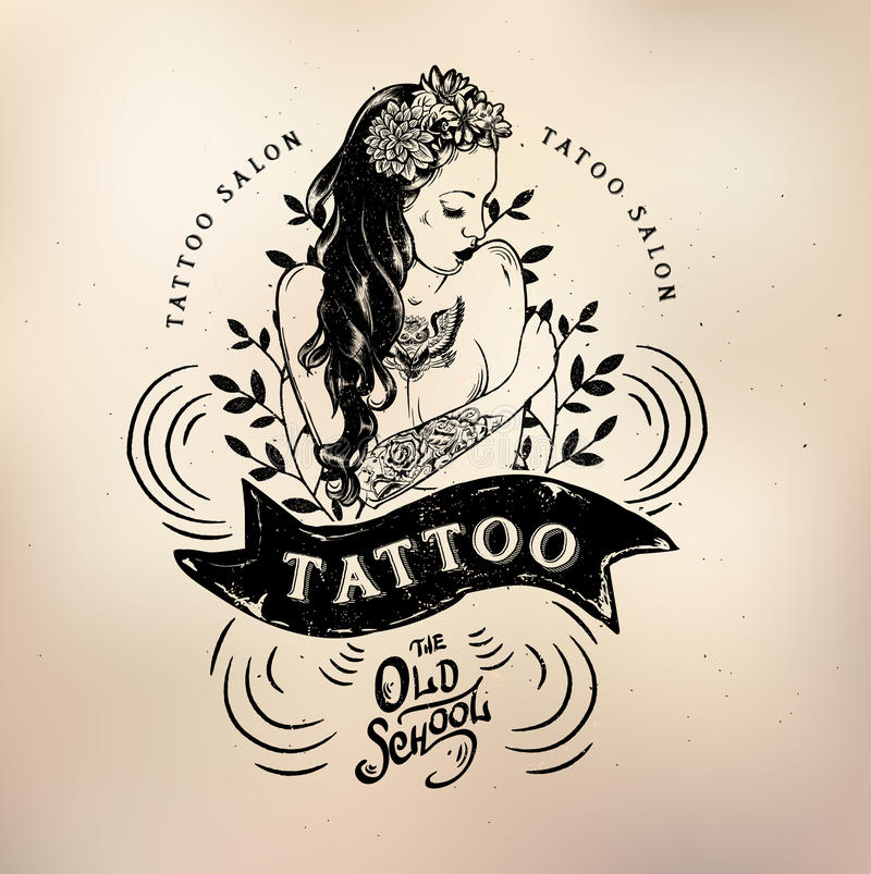 Tattoo Girl Old School Studio Skull Stock Vector - Illustration of ...