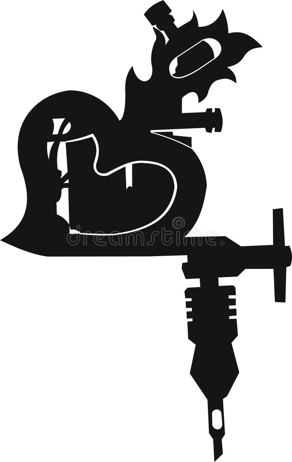 Tattoo Gun (Flame Heart) royalty free stock photos