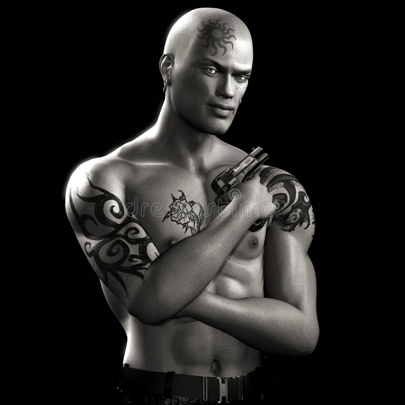 Download Tattoo Guy - BLAZE - 03 BW stock illustration. Illustration of hoodlum - 2093002
