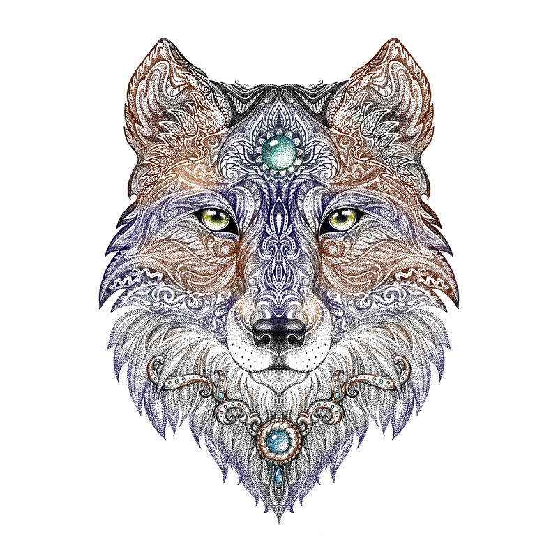Free Tattoo Head Wolf Wild Beast Of Prey Royalty Free Stock Image - 53107946