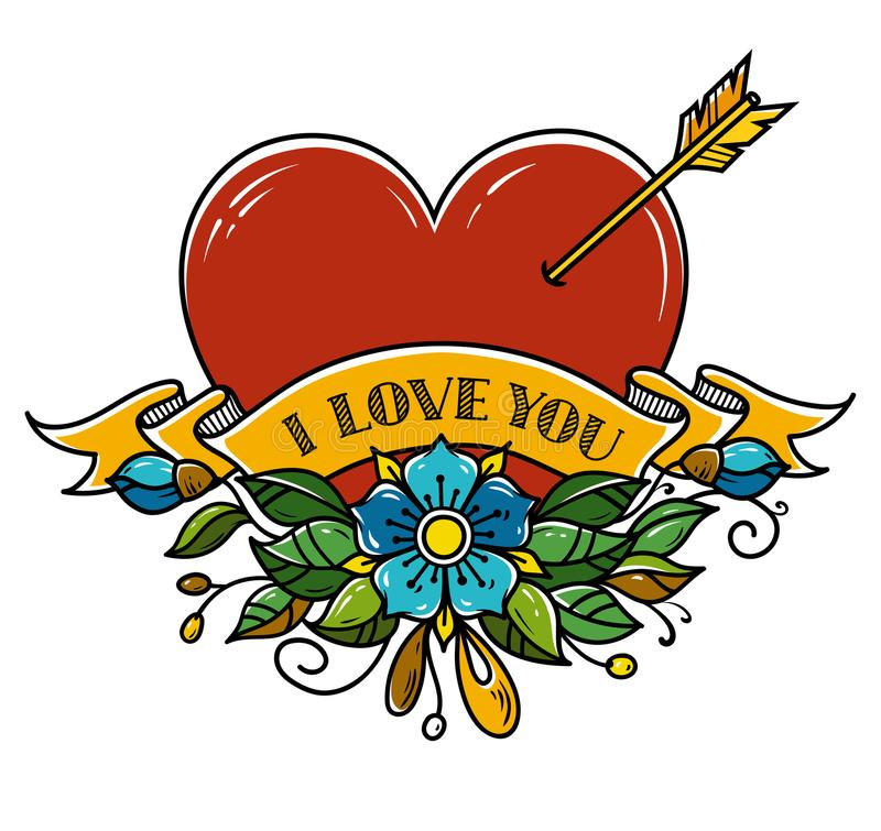 Tattoo Heart pierced with arrow. Heart decorated with flowers and ribbon. I love you. Illustration for Valentines Day. vector illustration