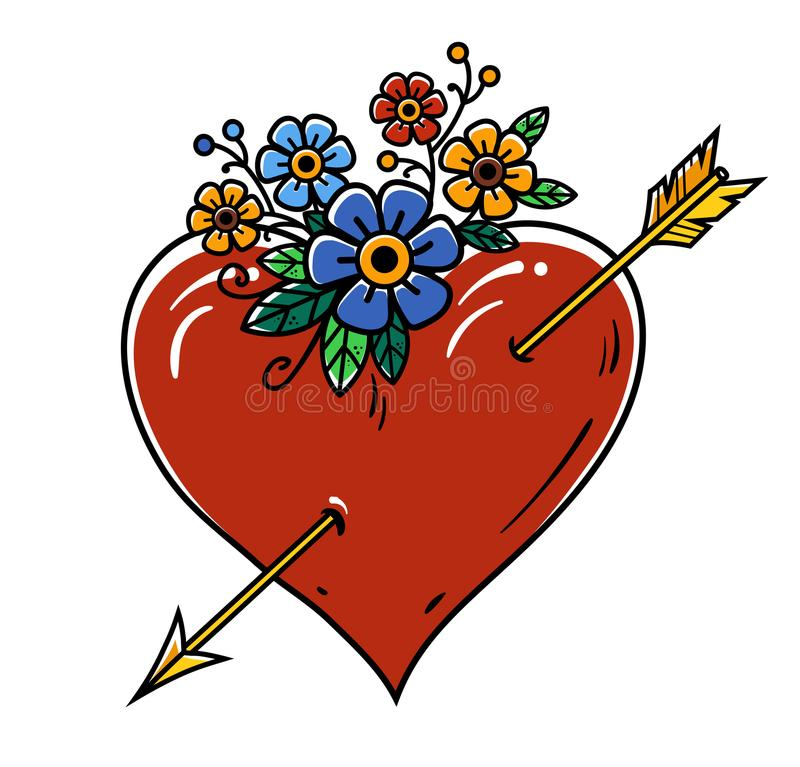 Tattoo Heart pierced with gold arrow. Red heart decorated with flowers. Tattoo isolated on white background royalty free illustration