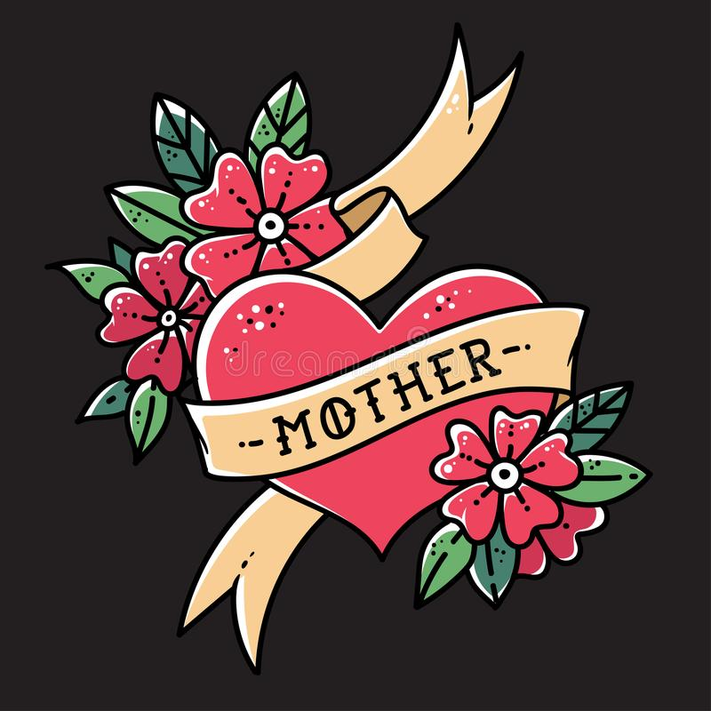 Tattoo heart with ribbon, flowers and word mother. Old school retro vector illustration on balck background.  vector illustration