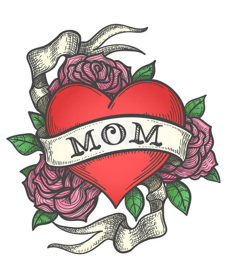 Tattoo Heart in Rose flowers with Ribbon vector illustration