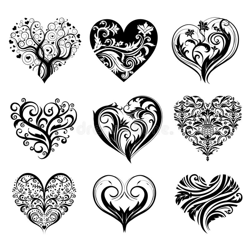Download Tattoo hearts stock vector. Image of curly, ethnic, decoration - 14932865