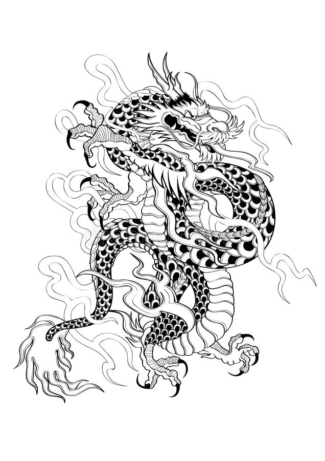 tattoo japanese style dragon stock vector image 62695054. Black Bedroom Furniture Sets. Home Design Ideas