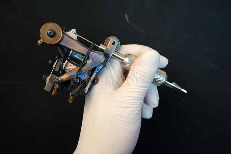Tattoo machine. Hand made ,used stock photography